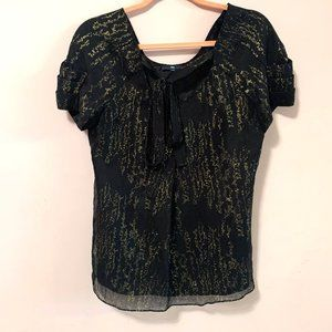 GAP silk black gold top with short sleeves